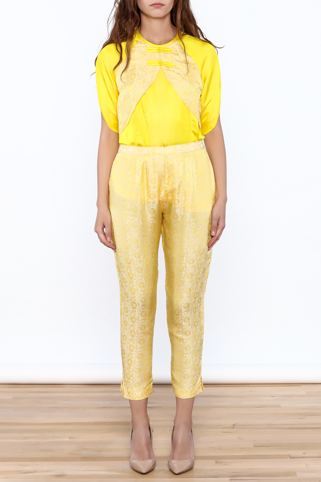 Dawn Sunflower Yellow Floral Pant - Front Full Image