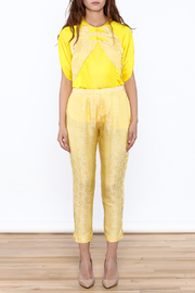 Dawn Sunflower Yellow Floral Pant - Front full body