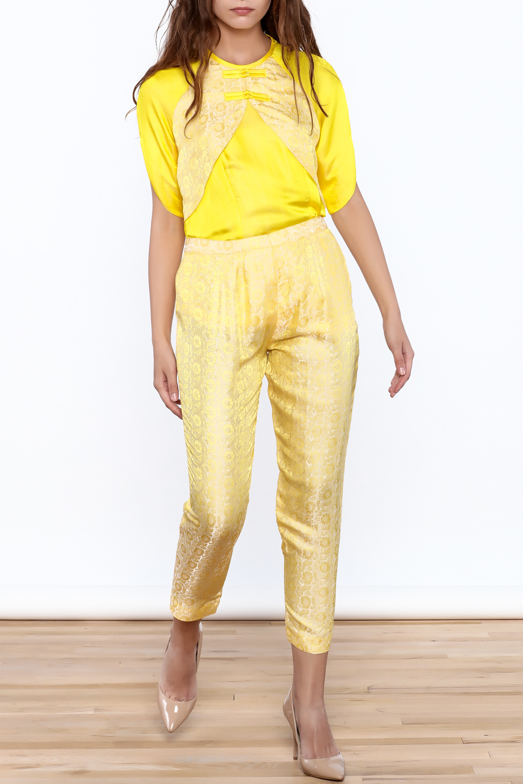 Dawn Sunflower Yellow Floral Pant - Main Image