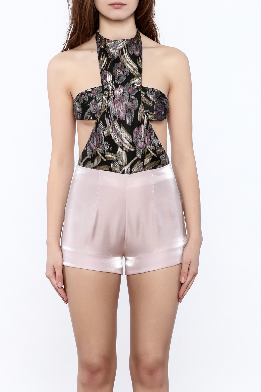 Dawn Sunflower Pink Summer Romper - Side Cropped Image