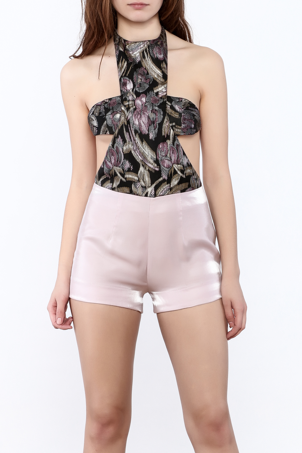 Dawn Sunflower Pink Summer Romper - Front Cropped Image