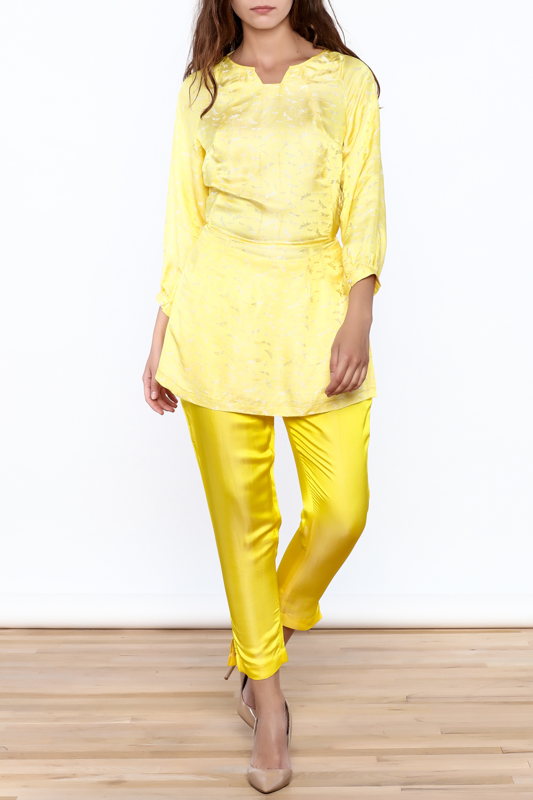 Dawn Sunflower Puff Midi Sleeves Blouse - Front Full Image