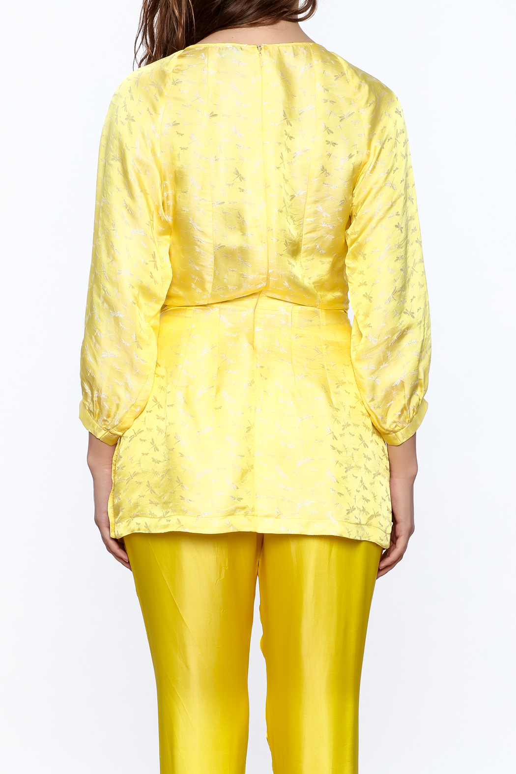 Dawn Sunflower Puff Midi Sleeves Blouse - Back Cropped Image