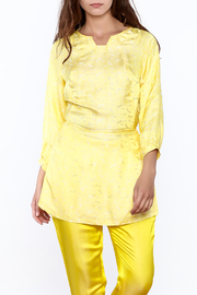 Dawn Sunflower Puff Midi Sleeves Blouse - Front cropped