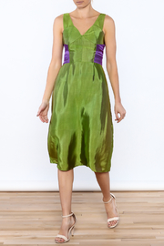 Dawn Sunflower Green Sleeveless Silk Dress - Product Mini Image