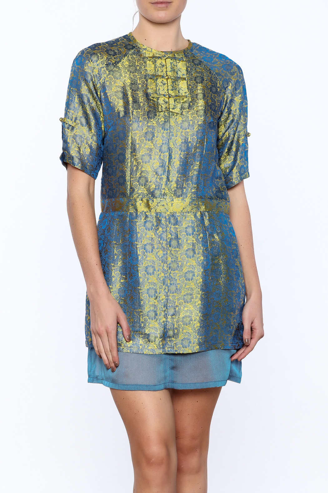 Dawn Sunflower Silk Floral Dress - Front Cropped Image