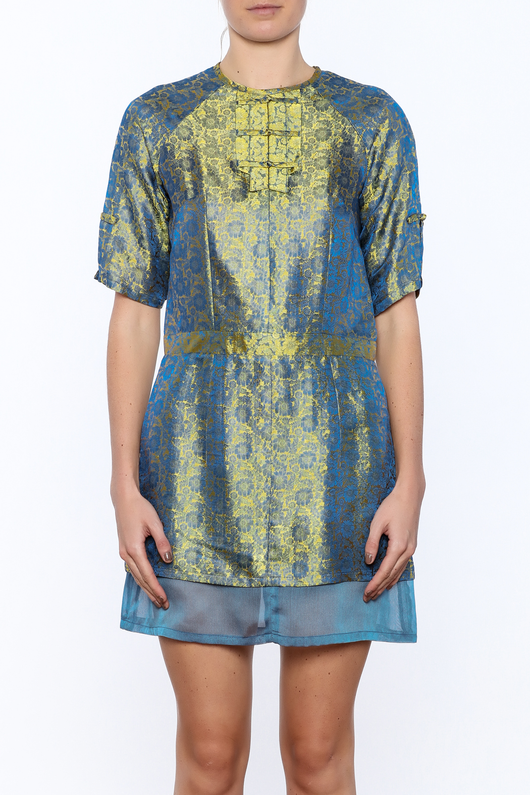 Dawn Sunflower Silk Floral Dress - Side Cropped Image