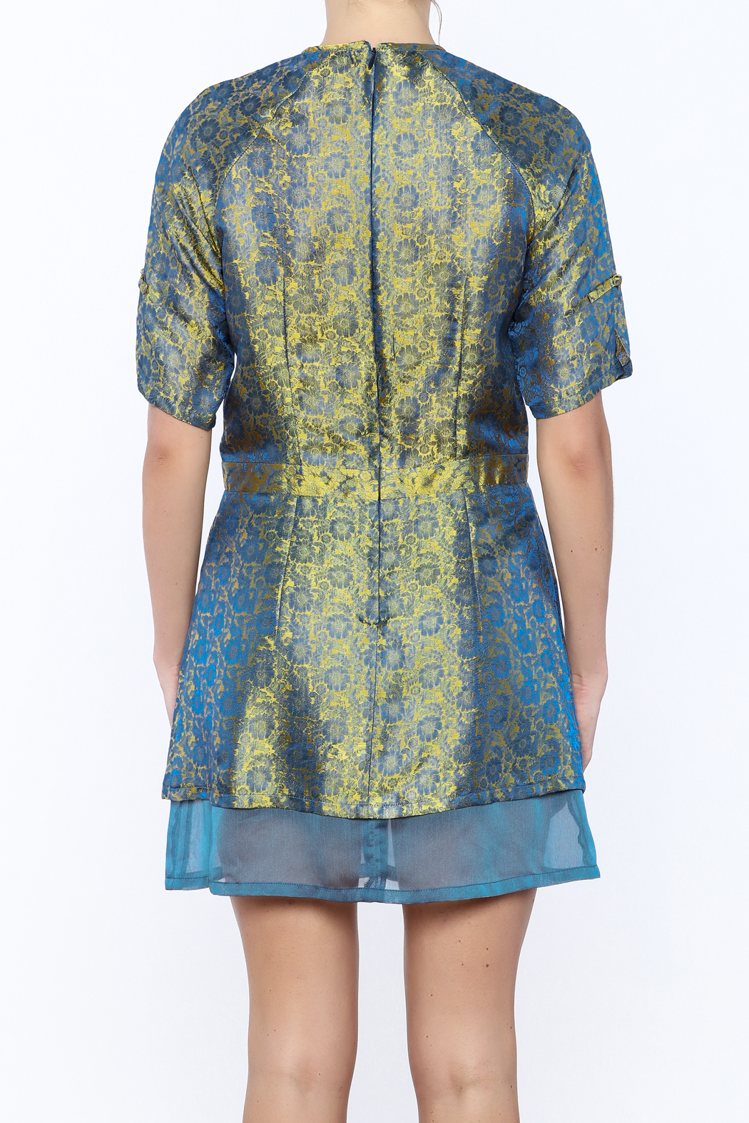 Dawn Sunflower Silk Floral Dress - Back Cropped Image