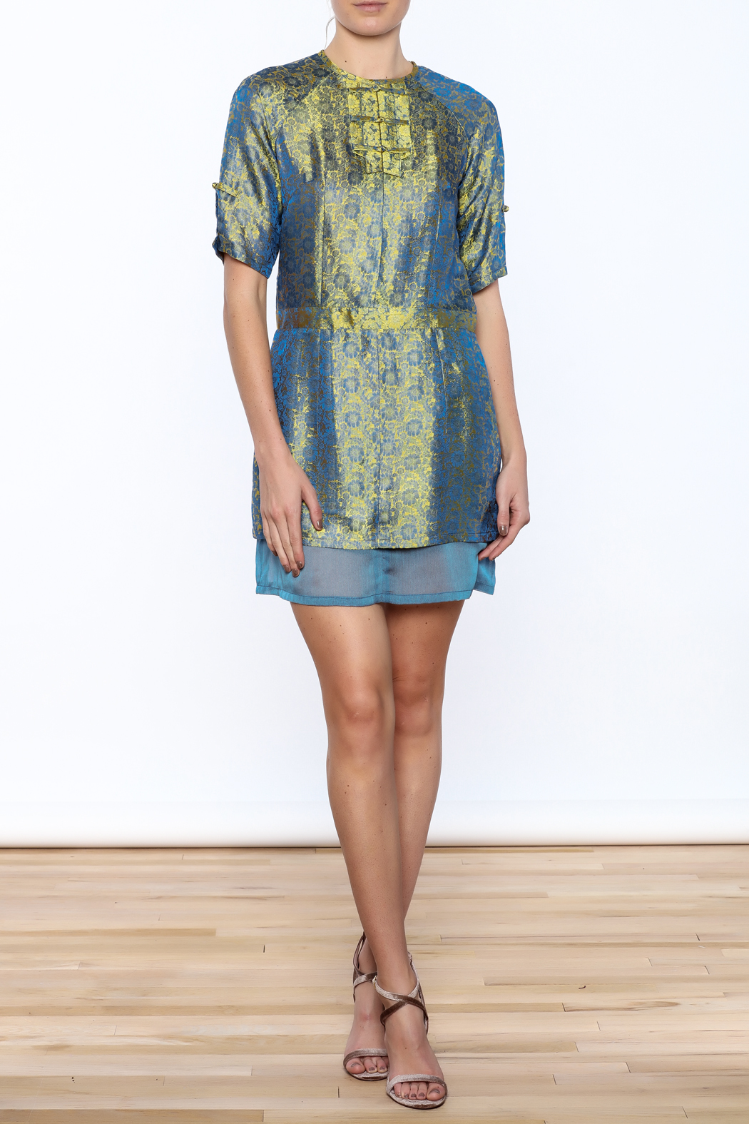 Dawn Sunflower Silk Floral Dress - Front Full Image