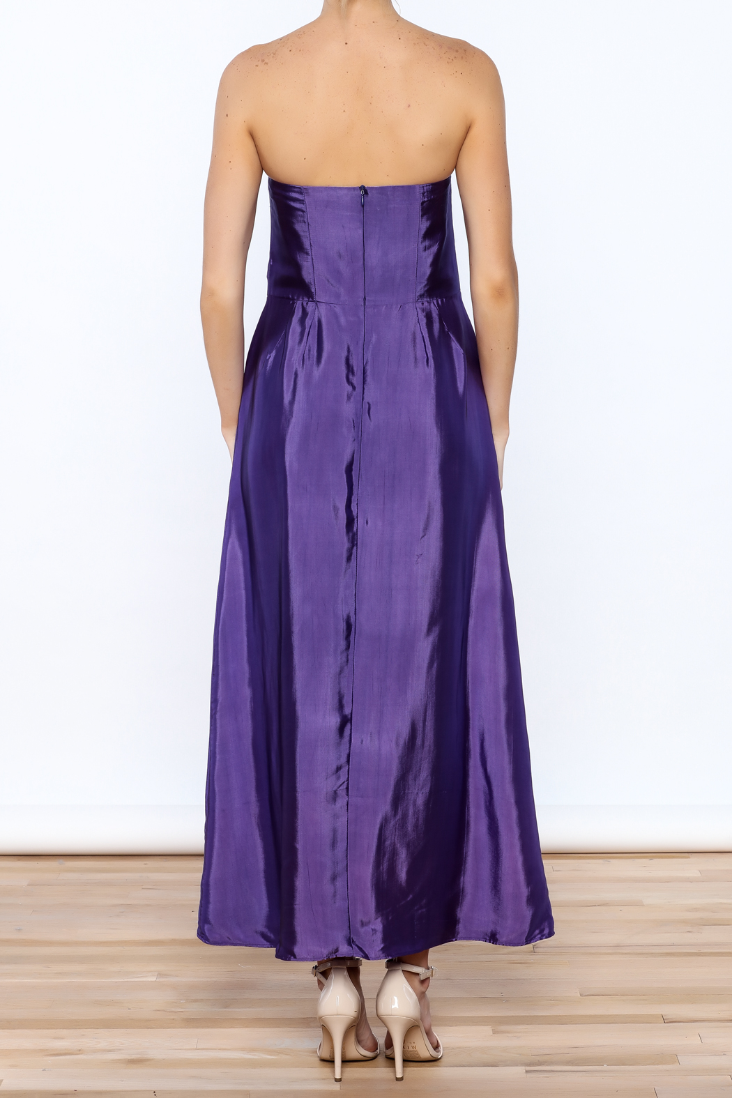 Dawn Sunflower Purple Strapless Silk Dress - Back Cropped Image