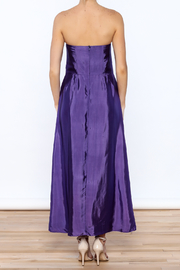 Dawn Sunflower Purple Strapless Silk Dress - Back cropped