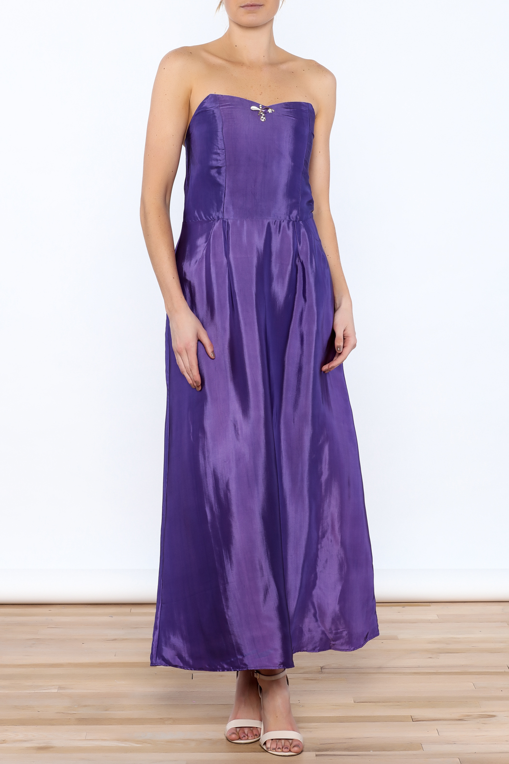 Dawn Sunflower Purple Strapless Silk Dress - Main Image