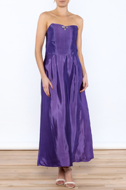 Dawn Sunflower Purple Strapless Silk Dress - Front full body