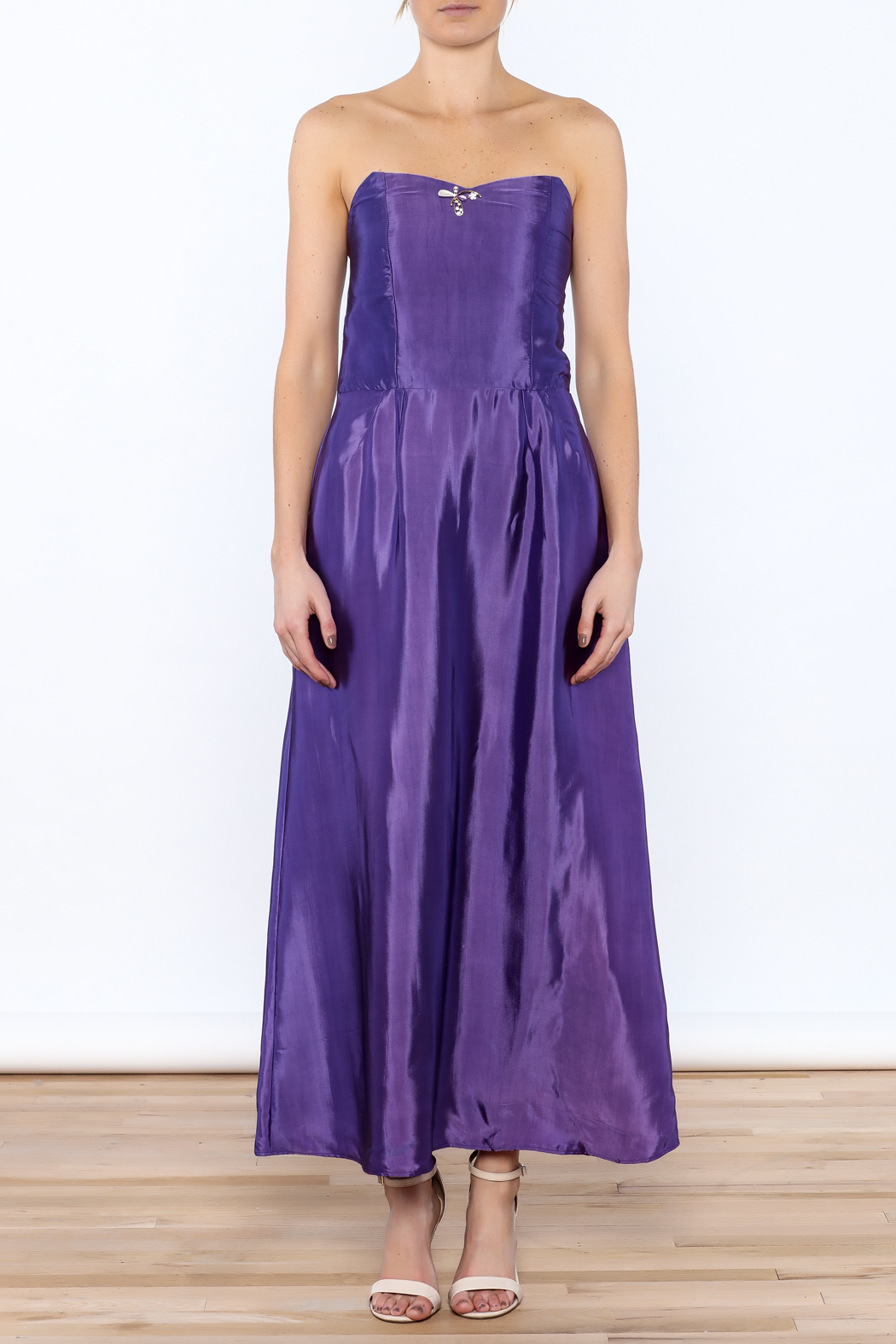 Dawn Sunflower Purple Strapless Silk Dress - Front Cropped Image