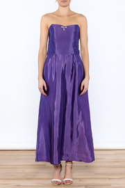 Dawn Sunflower Purple Strapless Silk Dress - Front cropped