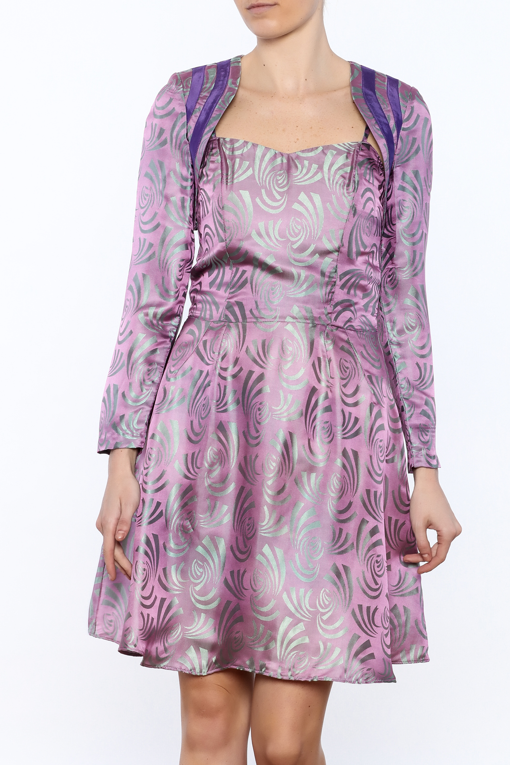 Dawn Sunflower Silk Fit And Flare Dress - Front Cropped Image