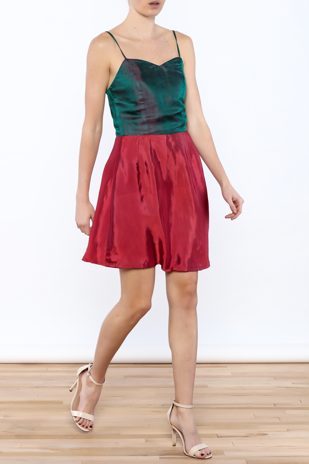 Dawn Sunflower Silk Fit And Flare Dress - Front Full Image