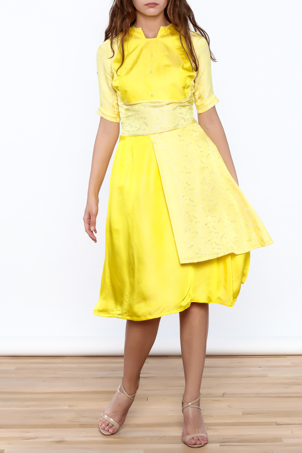 Dawn Sunflower Bright Yellow Skirt - Back Cropped Image