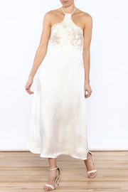 Dawn Sunflower White Silk Midi Dress - Product Mini Image