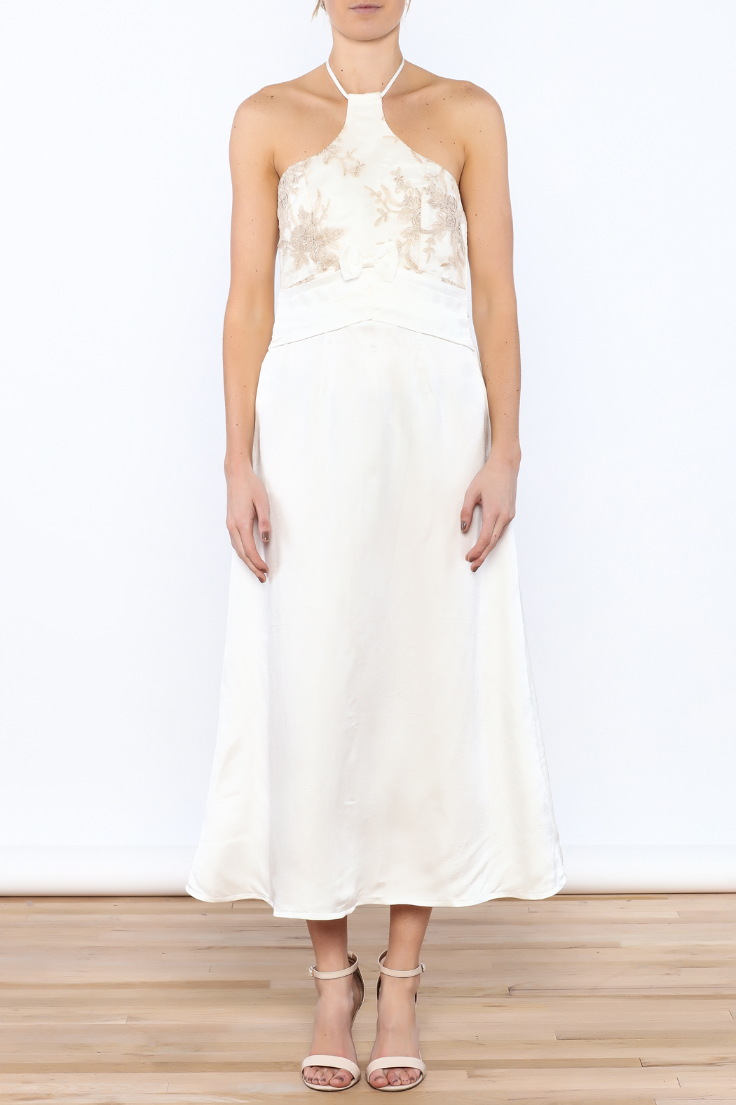 Dawn Sunflower White Silk Midi Dress - Front Cropped Image