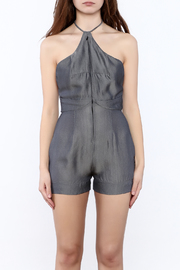 Dawn Sunflower Grey Silk Romper - Side cropped