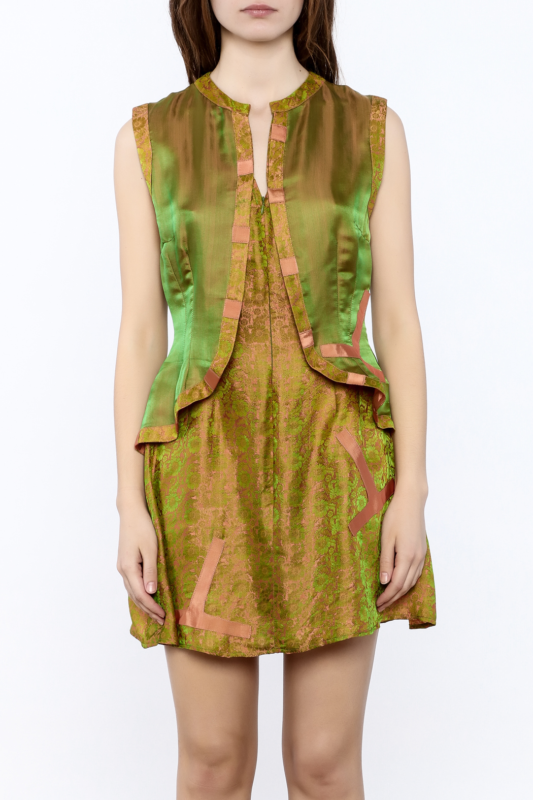 Dawn Sunflower Vested Mini Dress - Side Cropped Image