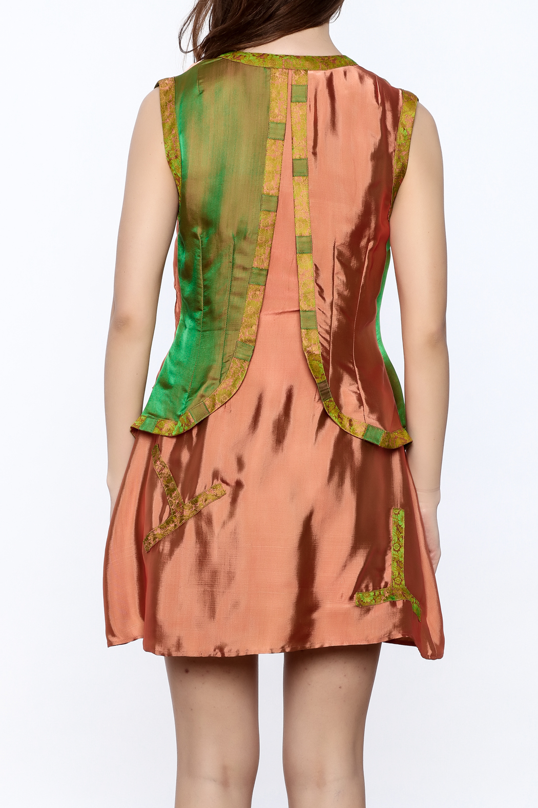Dawn Sunflower Vested Mini Dress - Back Cropped Image