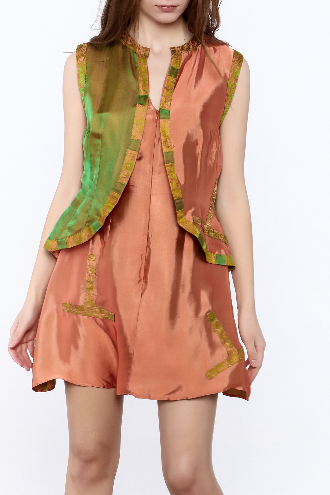 Dawn Sunflower Vested Mini Dress - Front Cropped Image