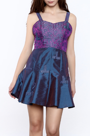 Dawn Sunflower Purple Silk Mini Dress - Product Mini Image