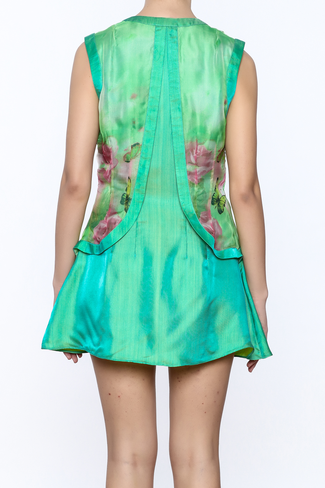 Dawn Sunflower Mini Floral Dress - Back Cropped Image