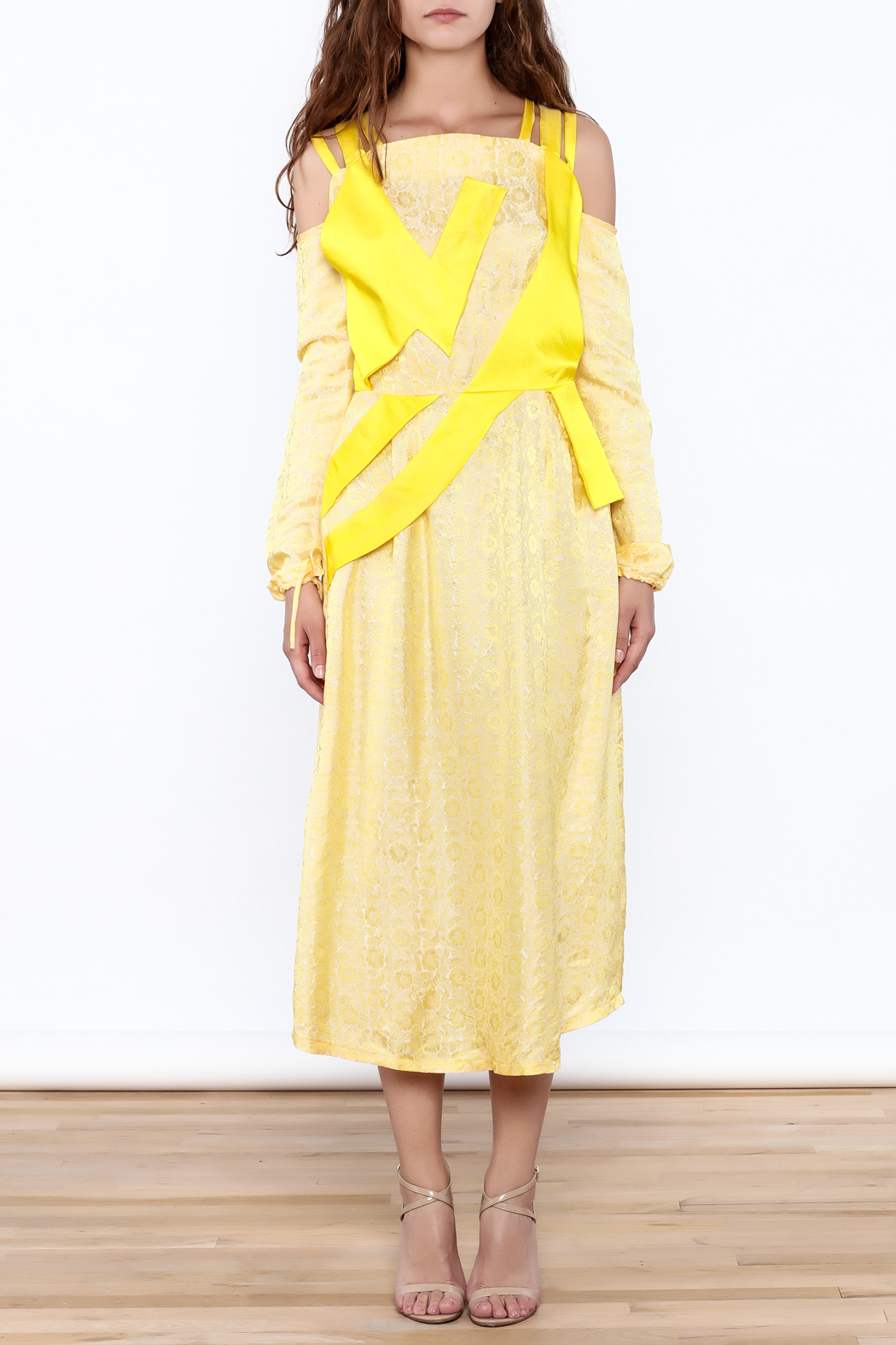 Dawn Sunflower Floral Yellow Midi Dress - Front Full Image