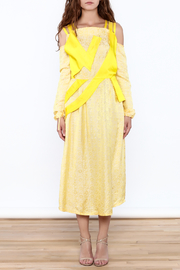 Dawn Sunflower Floral Yellow Midi Dress - Front full body