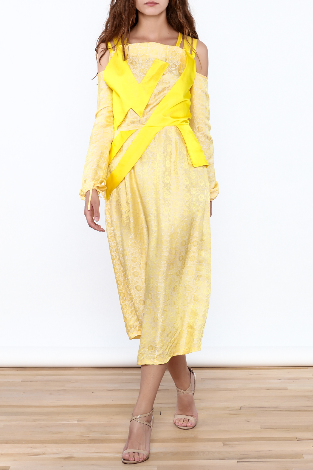 Dawn Sunflower Floral Yellow Midi Dress - Main Image