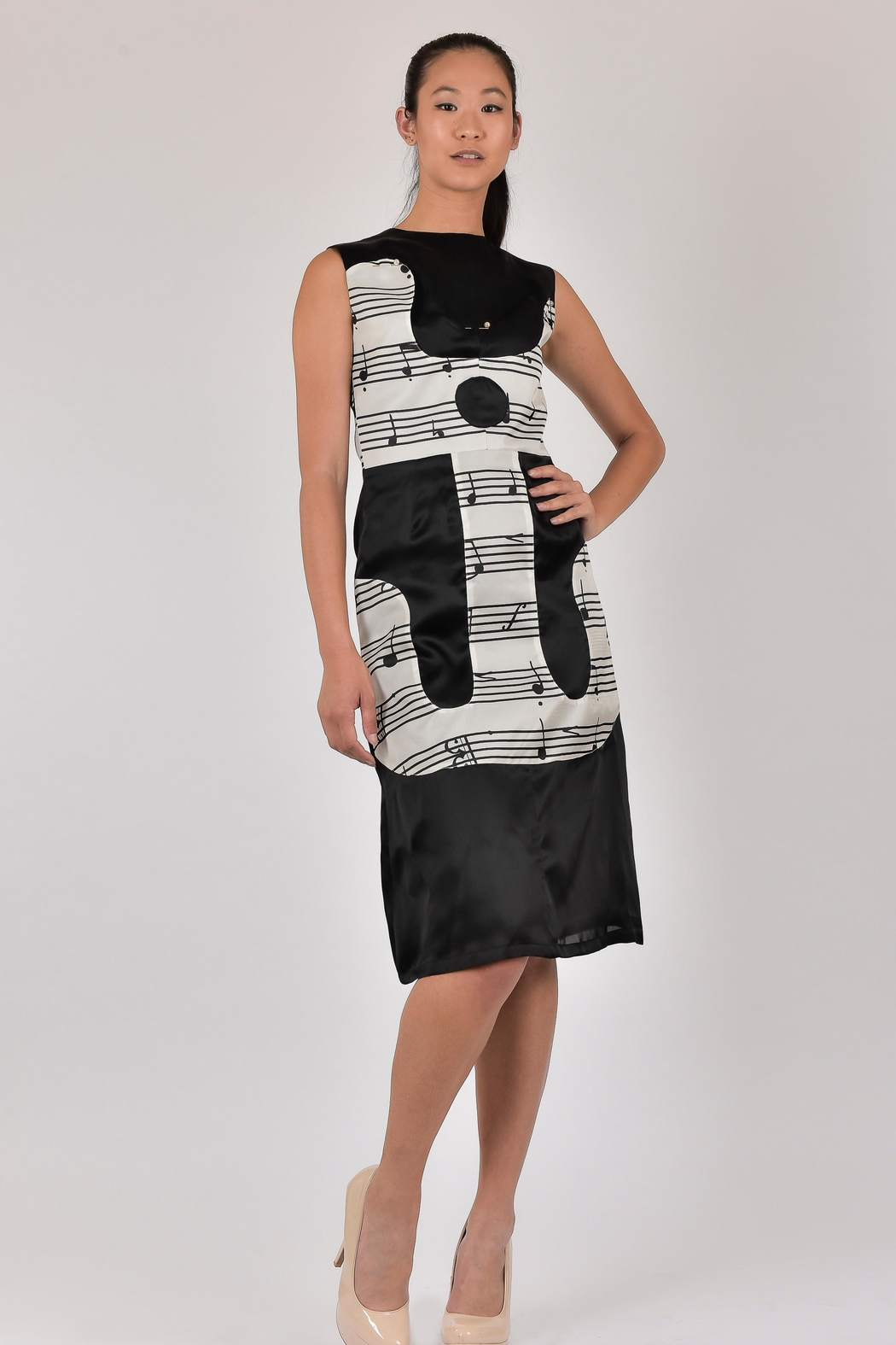 Dawn Sunflower Guitar Abstract Dress - Side Cropped Image