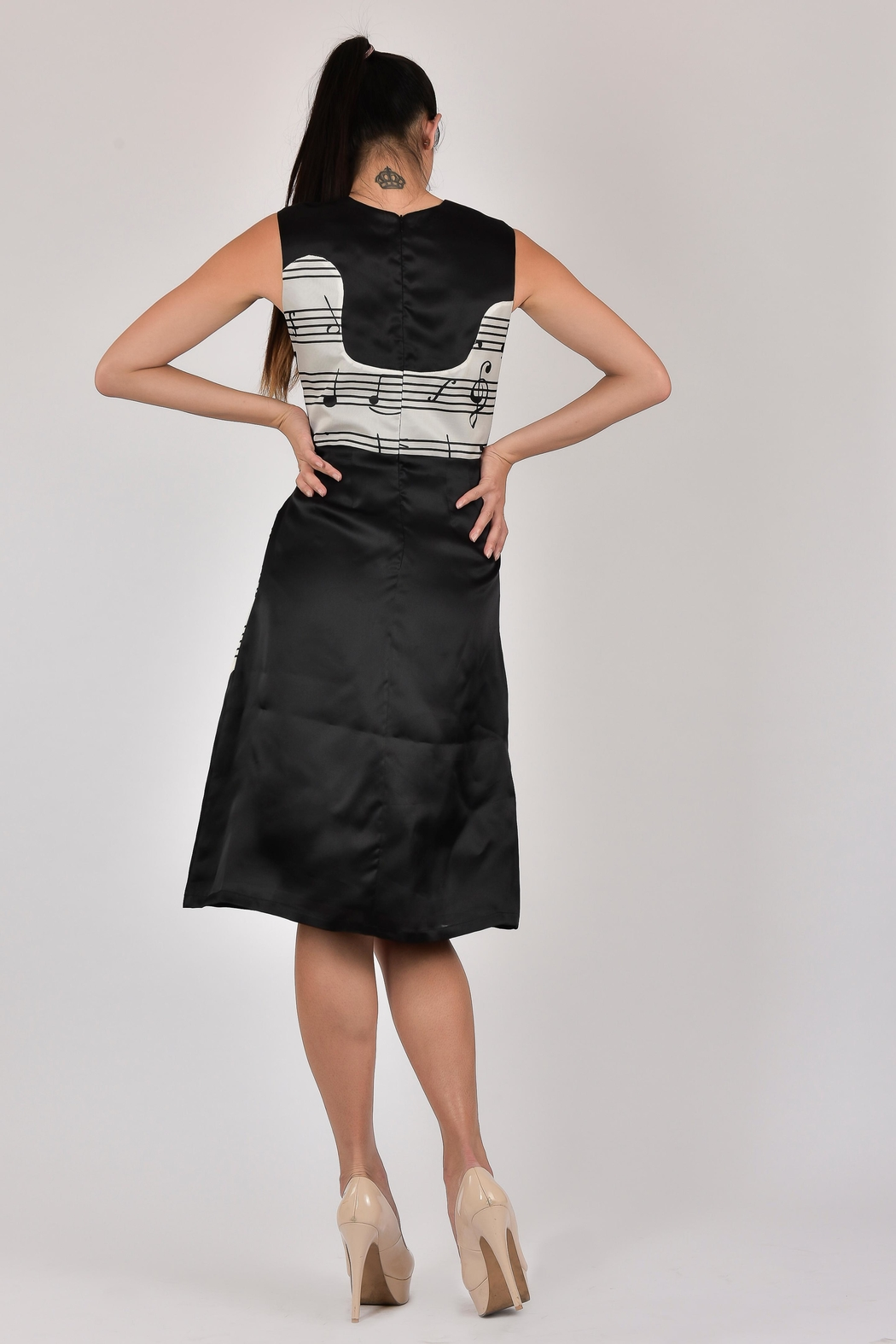 Dawn Sunflower Guitar Abstract Dress - Front Full Image
