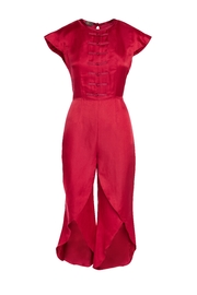 Dawn Sunflower Red Silk Jumpsuit - Front cropped