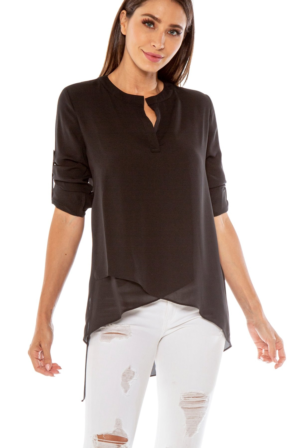 love token Dawson Hi Lo V Neck Blouse - Front Full Image