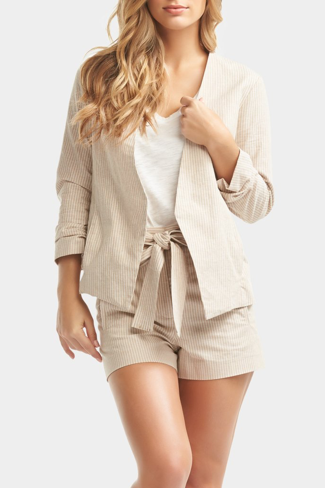 Tart Collections Dax Linen Shorts - Back Cropped Image
