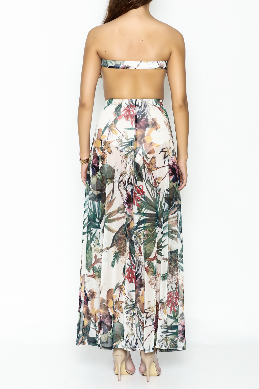 day and night Floral Dress Romper - Back Cropped Image