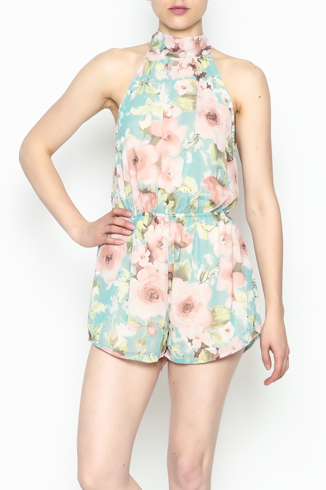 day and night Floral Print Romper - Front Cropped Image