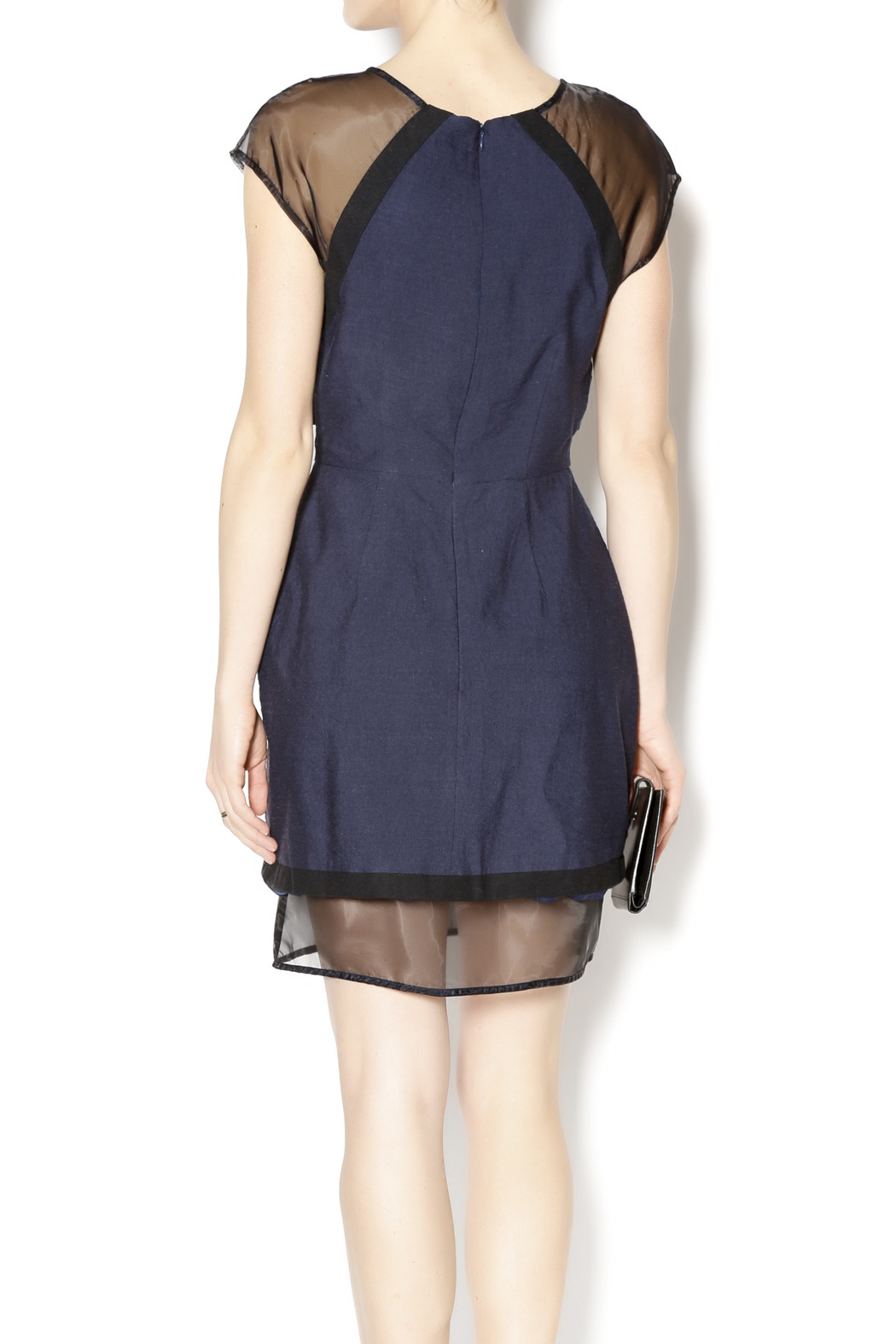 C/MEO COLLECTIVE Navy and Sheer Dress - Back Cropped Image
