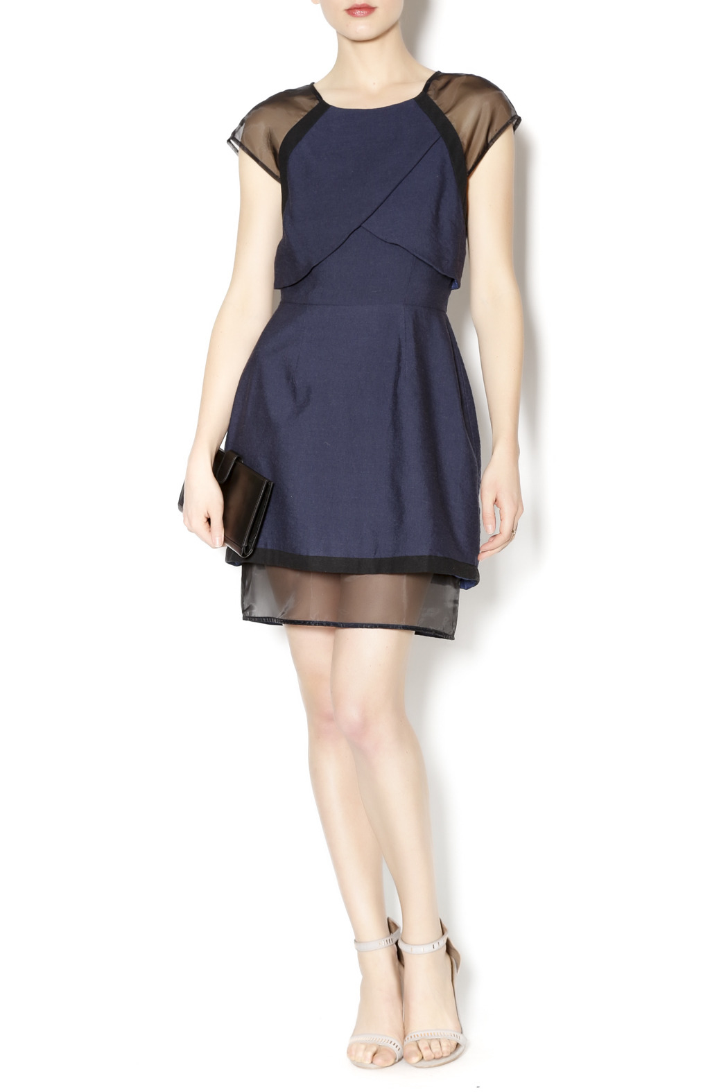 C/MEO COLLECTIVE Navy and Sheer Dress - Front Full Image