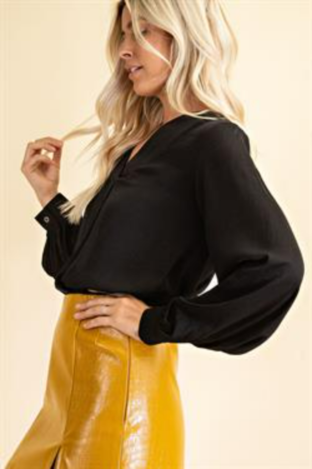 Glam Day to Night V-neck Blouse - Front Full Image