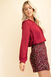 Glam Day to Night V-neck Blouse - Front full body