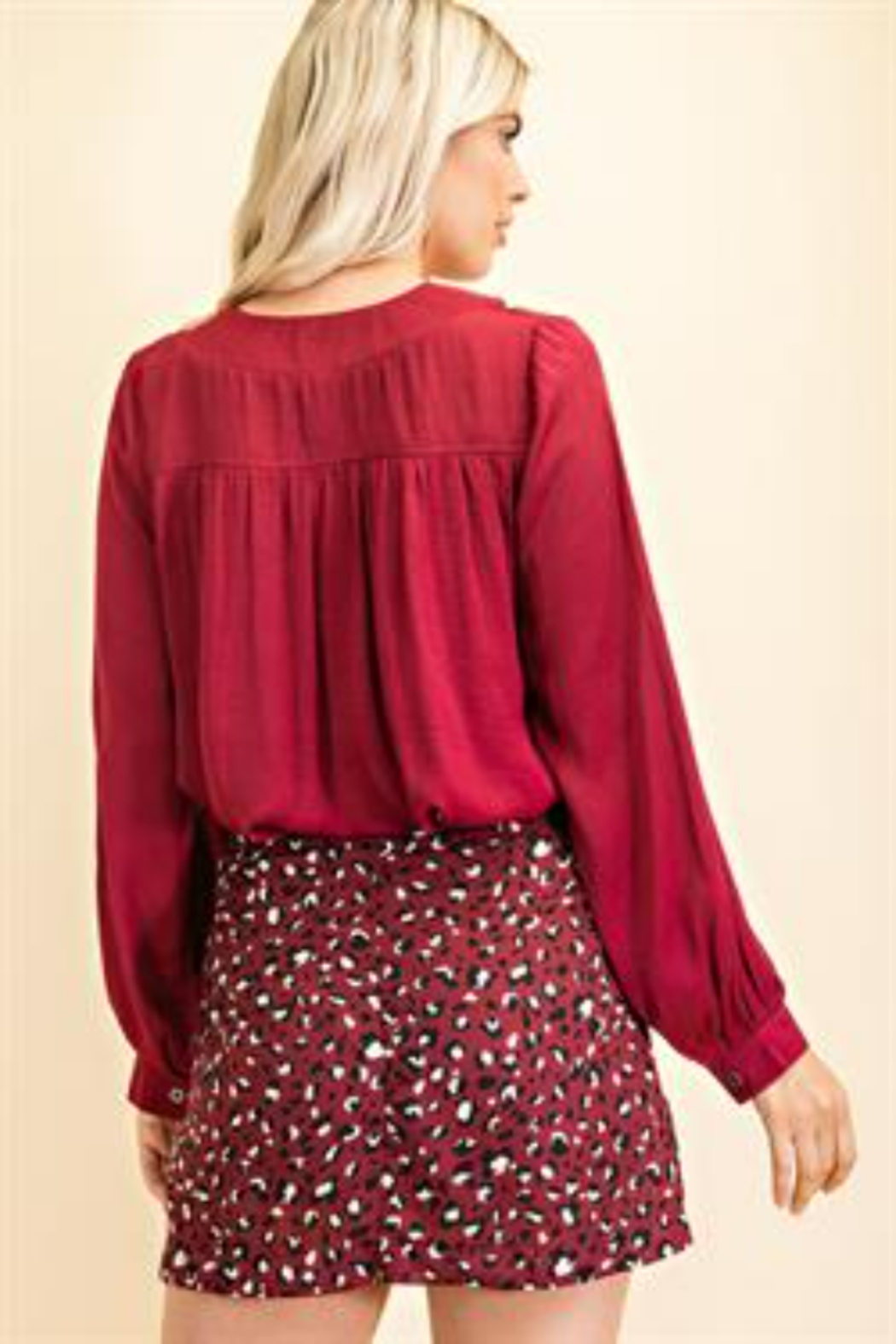 Glam Day to Night V-neck Blouse - Side Cropped Image