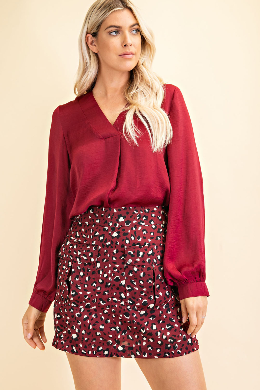 Glam Day to Night V-neck Blouse - Front Cropped Image