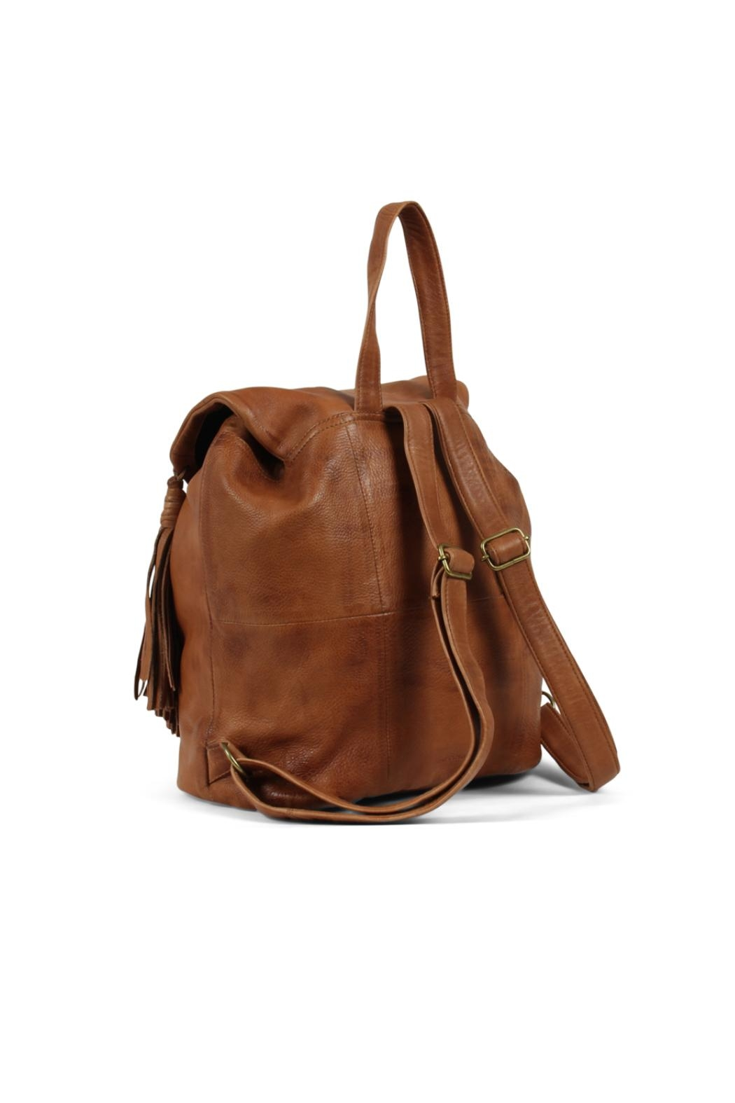 Day & Mood Leather Cognac Backpack - Side Cropped Image