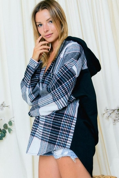 Day & Night Color-Block Plaid Hoodie - Product List Image