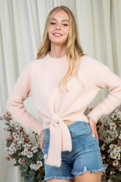 Shoptiques Product: Fuzzy Tie Sweater