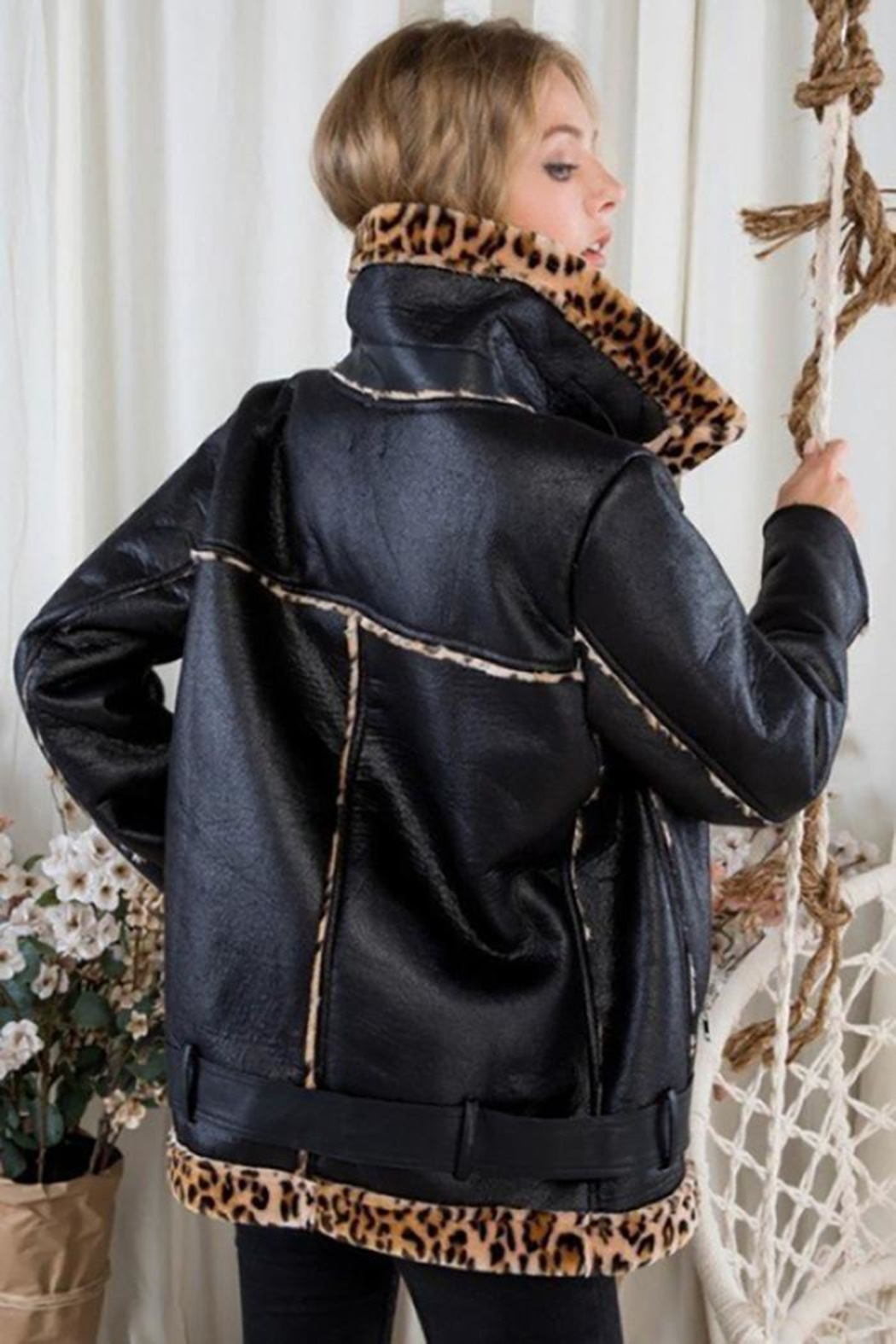 Day & Night Moto Jacket With Leopard Print - Back Cropped Image